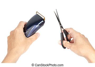 cheveux, outils, tenant mains