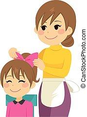 cheveux, peigner, mère