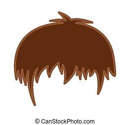cheveux, perruque, vecteur, dessin animé