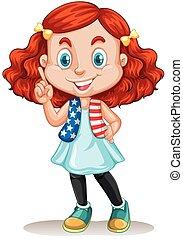 cheveux, petite fille, rouges