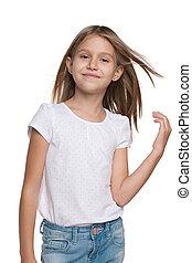 cheveux, peu, fille souriante, écoulement