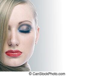 cheveux, portrait, brillant, blonds, maquillage