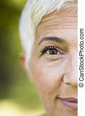 cheveux, portrait, femme, gris