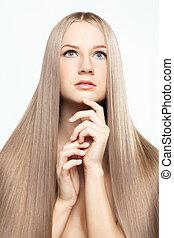 cheveux,  portrait, femme, jeune,  long