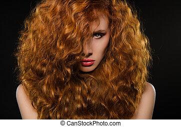 cheveux, portrait, horizontal, femme, rouges