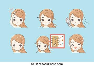 cheveux, problème, girl, dessin animé