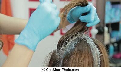 cheveux, processus, coloration