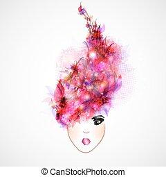 cheveux, résumé, femme, silhouette