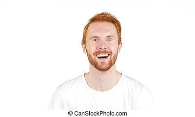 cheveux, réussi, stupéfié, heureux, rouges, homme