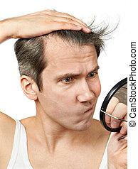 cheveux, regarder, sien, homme, miroir
