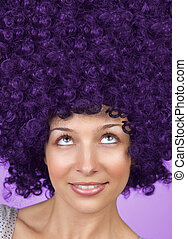 cheveux, rigolote, femme, joyeux, coiffure