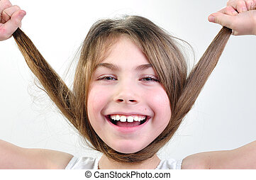 cheveux, rigolote, girl, jouer, elle