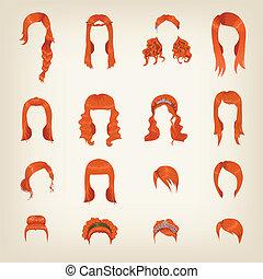 cheveux rouges, femme, assortiment