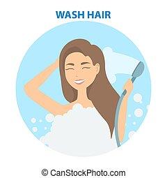 cheveux, set., soin