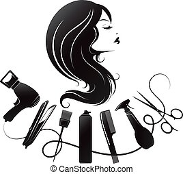 cheveux, silhouette, outils, girl, soin, boucles