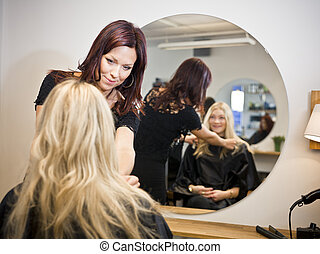 cheveux, situation, salon