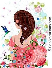 cheveux sombres, conception, jolie fille, fleurs, ton