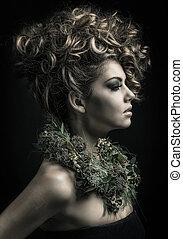 cheveux, styles, extrême