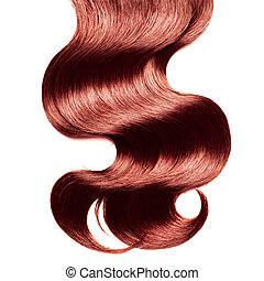 cheveux, sur, bouclé, blanc rouge