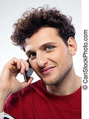 cheveux, téléphone, homme, bouclé, conversation