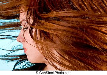 cheveux, tourbillonner, vent