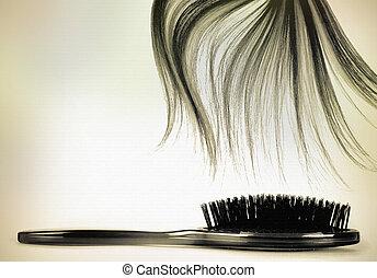 cheveux, vendange, brosse, long
