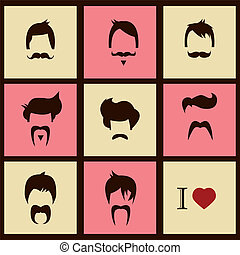 cheveux, vendange, style, hipster, amour