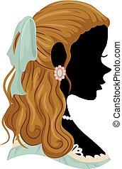 cheveux, victorien, silhouette, girl, illustration