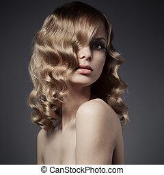 cheveux, woman., bouclé, blonds, long, beau