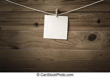 chevillé, vide, ficelle, bois, message, planches, contre