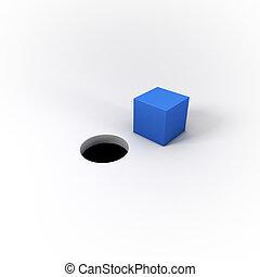 cheville, clair, rond, bleu, fond blanc, 3d, illustré, trou...