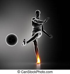 cheville, joueur, football, blessure, jointure