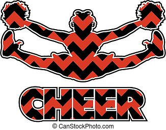 chevron cheer design with cheerleader doing a toe touch