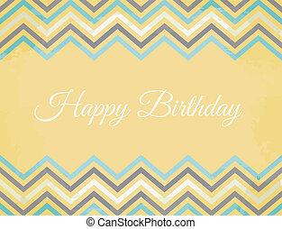 Chevron Pattern Birthday Card - Vintage Birthday greeting...