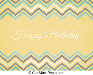 Chevron Pattern Birthday Card - Vintage Birthday greeting...