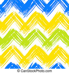 Chevron pattern hand painted with brushstrokes - Vector...