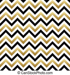 Chevron seamless pattern. Vector black, gold and white zigzag background