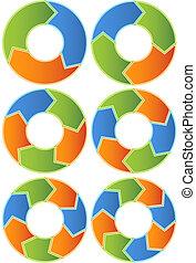 Chevron Set - Set of segmented arrow shaped chevrons made up...