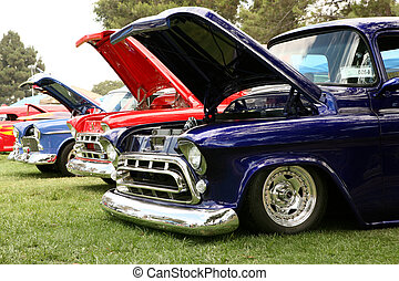 Chevy At a Car Show - Chevys At a Car Show With Hoods Up