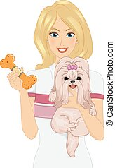 Illustration Featuring a Woman Carrying a Dog in One Arm and Holding a Chew Toy With Her Other Hand