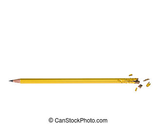 Chewed Up Pensil - Photo of chewed up yellow pensil isolated...