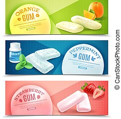 Chewing Gum Banners Set - Collection of realistic gum...