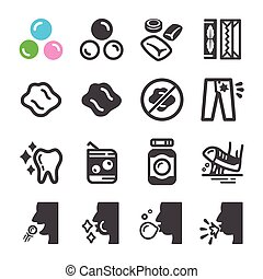 chewing gum icon set,vector and illustration