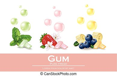 Chewing gum set with different flavors. Vector realistic...