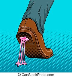 Chewing gum stuck to the shoe pop art vector - Chewing gum...