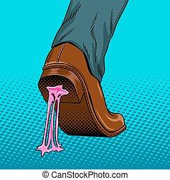 Chewing gum stuck to the shoe pop art vector - Chewing gum...