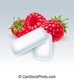 Chewing gum with raspberry flavor - Bubble gum with...