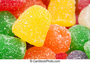 Chewy candy - A pile of chewy, gummy, sugar crystaled sweet ...