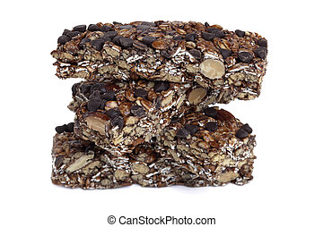 chewy granola bars - Chewy granola bars over a white...