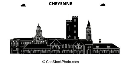 Cheyenne, United States, vector skyline, travel illustration, landmarks, sights.